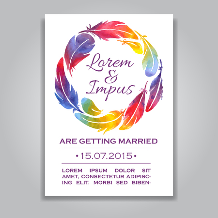 wreathe: Vector wedding invitation card with watercolor feather wreathe. Template Wedding invitation or announcements. Save the date wedding invitation in rainbow colors. Great for gay and lesbian wedding Illustration