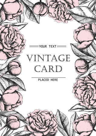 line wallpaper: Vintage elegant card with peony flowers. Black and white ink vector illustration. Great for wedding invitation or birthday card Illustration
