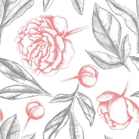 peony black: Vintage elegant pattern with peony flowers. Black and white ink vector illustration. Great for wedding invitation or birthday card Illustration
