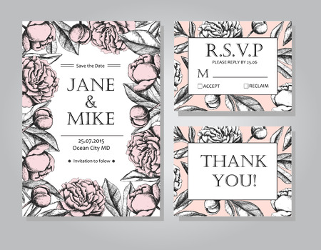 peony black: Vintage elegant wedding invitation card template collection with peony flowers. Black and white ink engraving vector illustration. Great for wedding invitation or birthday card