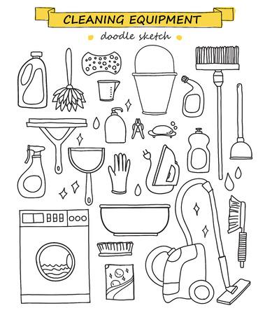 Doodle Reinigungswerkzeuge eingestellt Vektorgrafik