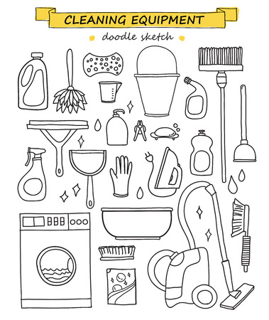 cleaning: doodle set of cleaning tools