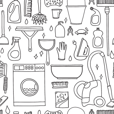 supplier: Vector doodle pattern of cleaning tools. Cleaning service. Cleaning supplies Illustration