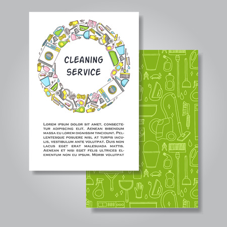 cleaning equipment: Two sided invitation card design with cleaning equipment illustration as background