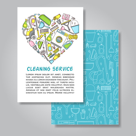 merchandising: Two sided invitation card design with cleaning equipment illustration as background