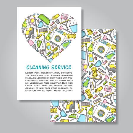 servicio domestico: Dos dise�o de tarjeta de invitaci�n unilateral con la ilustraci�n del equipo de limpieza como fondo