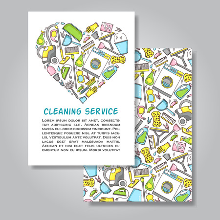 Two sided invitation card design with cleaning equipment illustration as background