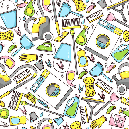 doodle pattern of cleaning tools