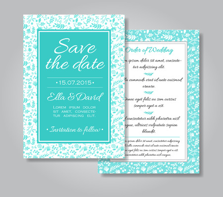 dates: wedding invitation card with floral design as background in tiffany blue and white