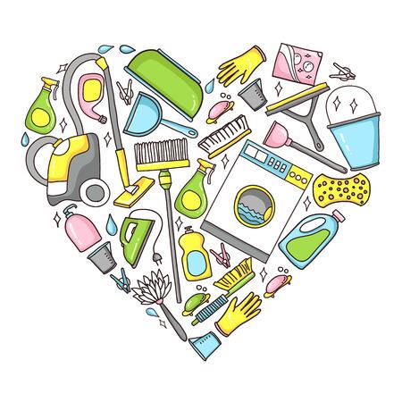 limpieza del hogar: ilustraci�n del doodle de equipos de limpieza en forma de coraz�n Vectores