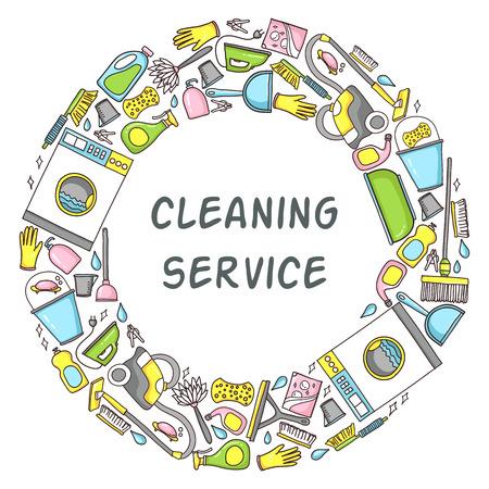 cleaning equipment: illustrazione Doodle circolare di attrezzature per la pulizia