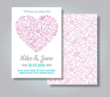 wedding invitation: Rustic wedding invitation card set. Hand drawn florals in heart shape on white background. Save the date and invitation card Illustration