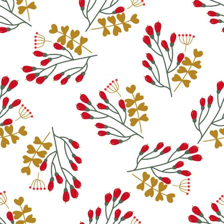 Naadloze Kerstmis en Nieuwjaar patroon met leuke winter bloemen. Gebruikt voor behang, patroonvullingen, webpagina achtergrond, oppervlaktestructuren, wraping papier, wenskaarten