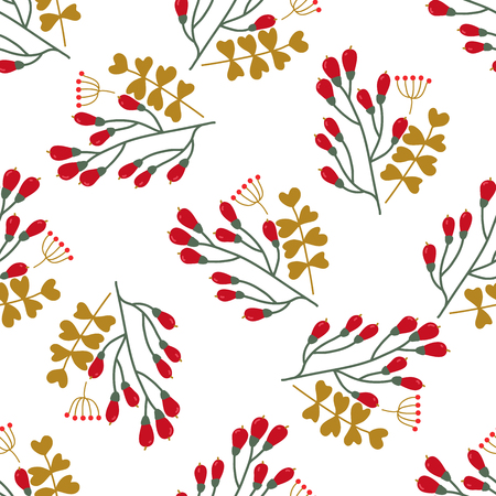 Seamless Christmas and New Year pattern with cute winter flowers. Used for wallpaper, pattern fills, web page background, surface textures, wraping paper, greeting cards