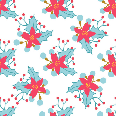 christmas element: Seamless Christmas and New Year pattern with cute winter flowers. Used for wallpaper, pattern fills, web page background, surface textures, wraping paper, greeting cards
