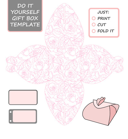 favor: Favor, gift box die cut. Box template with rose pattern. Great for birthday or wedding gift packaging. Illustration
