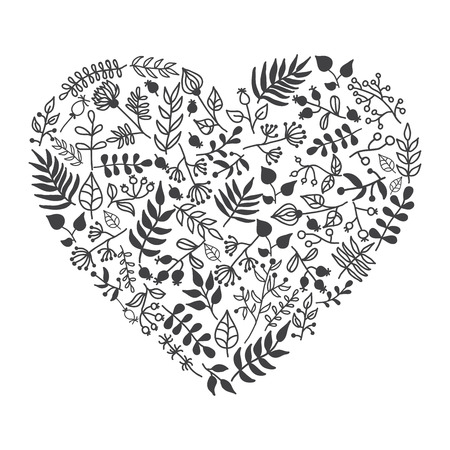 Vector rustic floral heart shape illustration. Hand-draw. Great for wedding invitations, valentine and  gretting cards