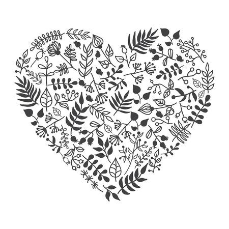 Vector rustieke bloemen hart vorm illustratie. De hand tekenen. Groot voor huwelijksuitnodigingen, valentijn en gretting kaarten Stock Illustratie