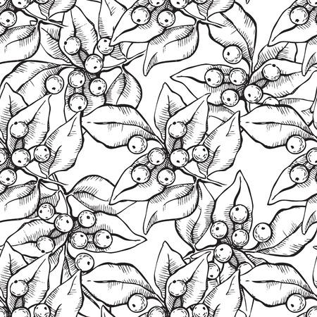 Vector seamless hand draw pattern with ink mistletoe illustation.