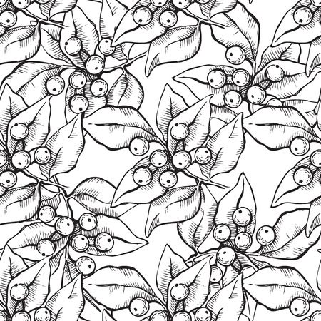 omela: Vector seamless hand draw pattern with ink mistletoe illustation.