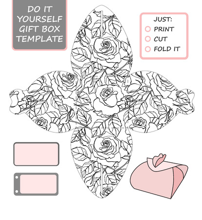 Favor, gift box die cut. Box template with rose pattern. Great for birthday or wedding gift packaging. Illustration