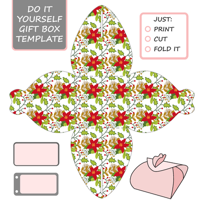 die cut: Favor, gift box die cut. Box template with winter floral pattern. Great for Christmas or New Year present packaging.