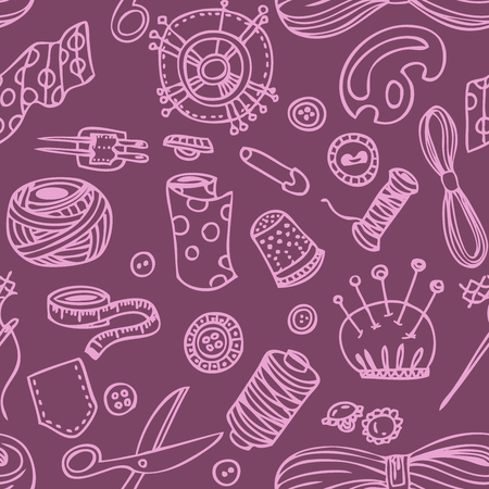 sew: Seamless vector doodle sewing and needlework pattern