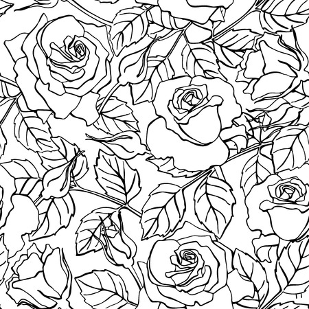 flowers on white: Vector delicate line rose pattern.  Great for wedding invitations, greeting, birthday and valentine cards and background