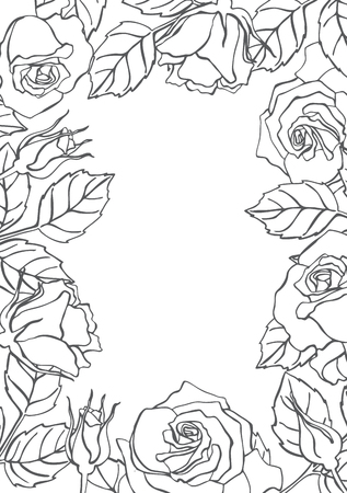 floral elements: Vector line rose frame. Great for wedding invitations, greeting, birthday and valentine cards