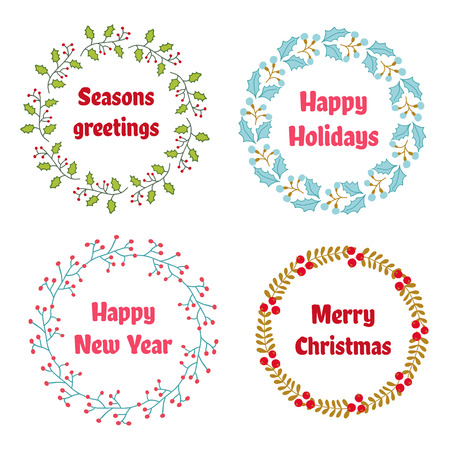 wreath set: Vector Christmas and New Year wreath set with vintage flowers. Great for greeting cards Illustration