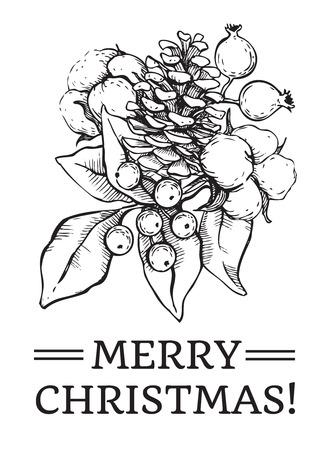 Mano Vector Natale disegnato illustrazione d'epoca per la progettazione di Natale. Ottimo per auguri e inviti da visita, striscioni, cartoline Archivio Fotografico - 43955841