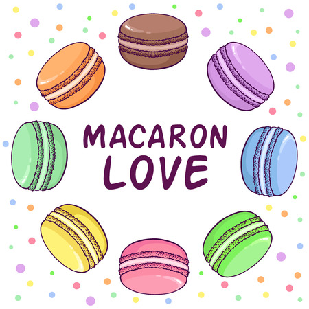Vector macaroon illustration in round shape. Macaron Love. Great to promote your business.