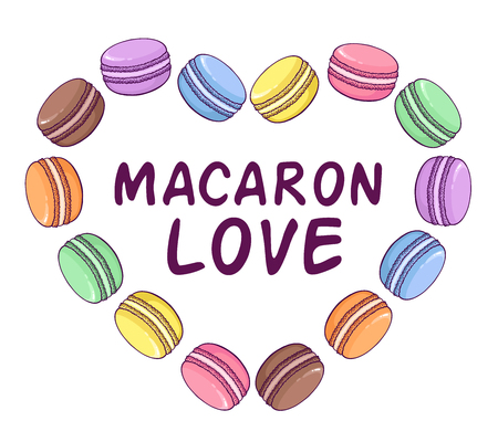 macaron: Vector macaroon illustration in heart shape. Macaron Love. Great to promote your business.