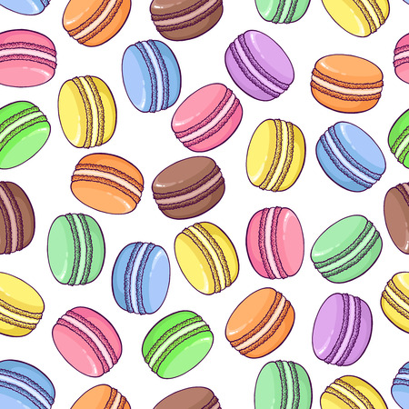 Vector seamless macaroon pattern on white background. Great to promote your business or for packaging