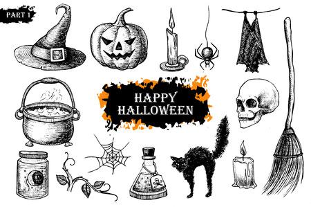 Vector hand getekende Halloween set. Vintage illustratie. Groot voor partij uitnodigingskaarten en andere decor
