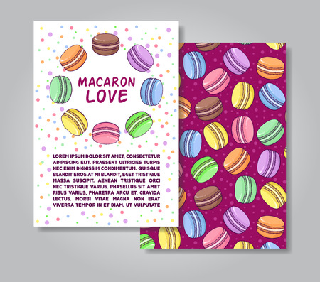 promote: Two sides invitation card design with macaroon illustration and pattern background. Vector design template for card, letter, banner, flyer.Can by used  to promote your products and business.