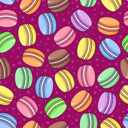 promote: Vector seamless macaroon pattern on bright background. Great to promote your business or for packaging