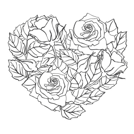 rose: Vector line rose heart shape illustration. Great for wedding invitations, greeting, birthday and valentine cards Illustration