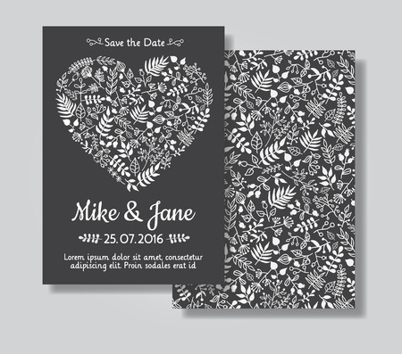 wedding invitation card: Rustic wedding invitation card set. White florals in heart shape on black chalkboard background. Save the date and invitation card