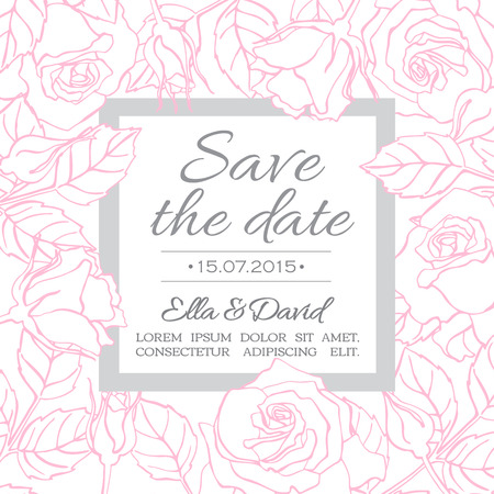 delicate: Vector delicate wedding invitation card template with line rose flowers and leaves Illustration