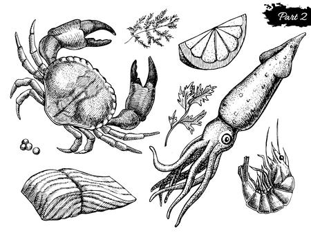Vector dibujado a mano conjunto de mariscos. Ilustración de la vendimia Vectores