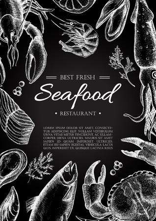 ベクトル ヴィンテージ シーフード レストランのチラシ。手描きの黒板のバナーです。メニューのバナー、チラシ、カードのために大きい、水産事