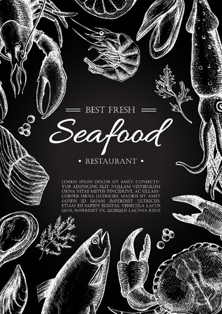 seafood background: Vector vintage seafood restaurant flyer. Hand drawn chalkboard banner. Great for menu, banner, flyer, card, seafood business promote.