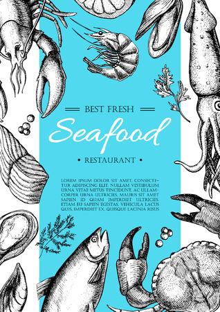 Vector vintage Fischrestaurant Flyer. Hand gezeichnet Banner. Groß für meny, Banner, Flyer, Karte, Meeresfrüchte-Geschäft zu fördern. Illustration
