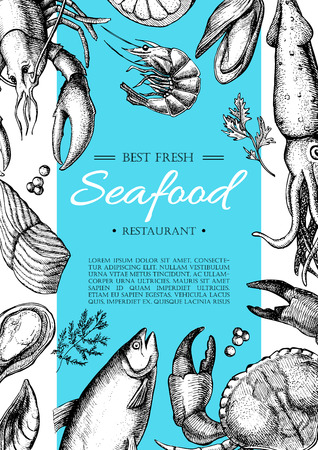 menu icon: Vector vintage seafood restaurant flyer. Hand drawn banner. Great for meny, banner, flyer, card, seafood business promote.