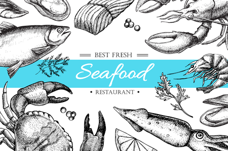 seafood background: Vector vintage seafood restaurant illustration. Hand drawn banner. Great for menu, banner, flyer, card, seafood business promote. Illustration