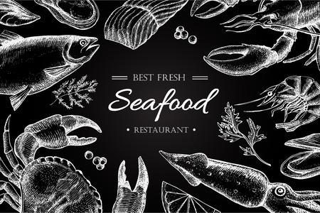 Vector uitstekende visrestaurant illustratie. Hand getrokken chalkbord banner. Groot voor het menu, banner, flyer, kaart, schaal-en schelpdieren bedrijf te promoten. Stock Illustratie