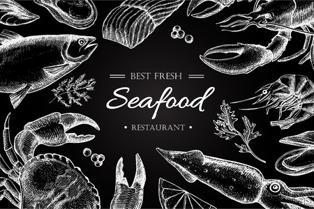 shrimp: Vector vintage seafood restaurant illustration. Hand drawn chalkbord banner. Great for menu, banner, flyer, card, seafood business promote.