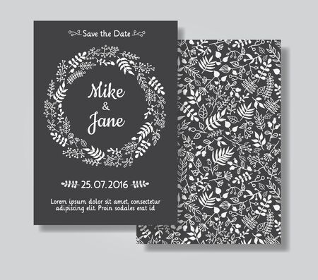 rustic: Rustic wedding invitation card set. White floral wreath on black chalkboard background. Save the date and invitation card Stock Photo