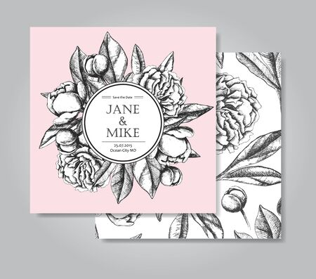 peony black: Vintage elegant wedding invitation card template with peony flowers. Black and white ink engraving vector illustration. Great for wedding invitation or birthday card